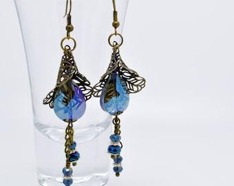Blue Earrings, Crystal drop earrings, Bronze Jewellery, glass and crystal earrings, Crystal jewellery, crystal earrings, drop earrings