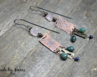 Bohemian Metalwork Gemstone Earrings, Gypsy, Boho, Rustic Jewelry, Oxidized Hand Hammered Copper, Handmade, Artisan, Earthy, Textured, Chic