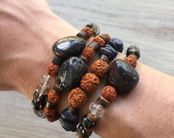 Stone bracelet stack with sapphire, quartz, pietersite and rudraksha seeds / bohemian bracelets / gypsy bracelets / beaded bracelet stack