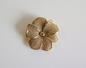 Christian Dior Vintage Flower Brooch with Pavé Crystal Petals