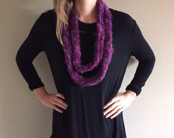 Handknit Knit Fuzzy Curly Infinity Scarf // Purple