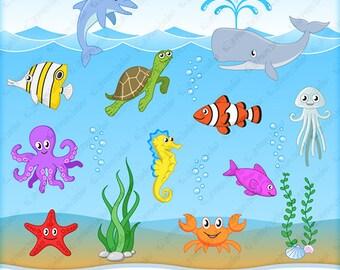 Sea creature clipart | Etsy