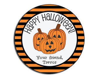 halloween stickers kids personalized halloween party stickers halloween class party bag label happy - Happy Halloween Stickers