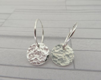 Silver disc earrings, Fine silver earrings, Hammered earrings, Textured earrings, Silver dangle earrings, Made in the UK