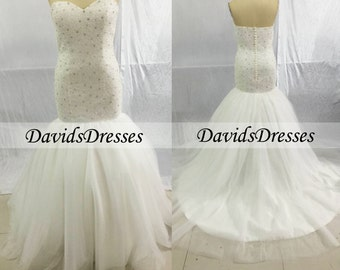 Beaded Mermaid Wedding Dresses/Gown 2016, Bridal Gown With Beading/Beads, Custom Wedding Dress For Summer Wedding