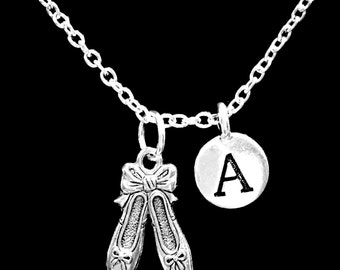Initial Necklace, Gift For Her, Ballet Slippers Necklace, Ballerina Shoes Necklace, Daughter Niece Gift Necklace