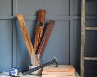 Antique Stanley Construction Level / Wood / Working Condition / Tools / 1800s / Industrial Decor / Pat 6-2-91 / 6-23-96