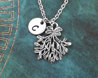 Mistletoe Necklace SMALL Mistletoe Jewelry Christmas Jewelry Christmas Necklace Stocking Stuffer Holiday Jewelry Christmas Gift Xmas Charm