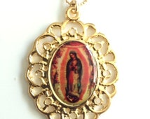 Our Lady of Guadalupe gold pendant Virgen de Guadalupe Medal Gold Virgin Mary Pendant Our Lady of Guadalupe Necklace Catholic Jewelry