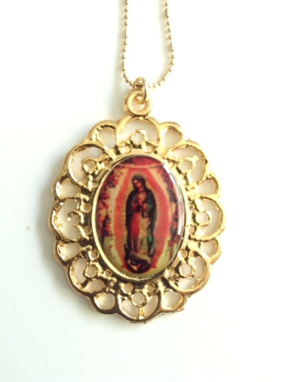 our lady of guadalupe gold pendant virgen de guadalupe medal