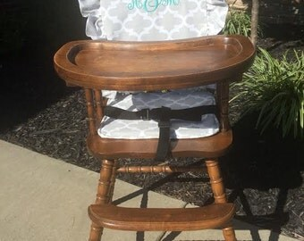 Wooden Highchair Cover/Pad/Cushion: French Gray Ruffle Cushion for wooden/vintage highchairs. Removable foam. Optional monogramming.