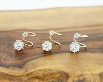 925 Sterling Silver CZ Crystal Ear Cuff, Ear Pins