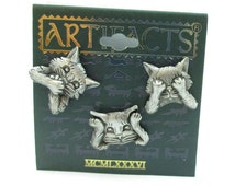 JJ Jonette Lapel Three Pewter Brooch Pin Cats Hear Speak See No Evil Tie Tack Vintage Jewelry NOS Signed Gift Ideas Scarf Shawl Made in Usa