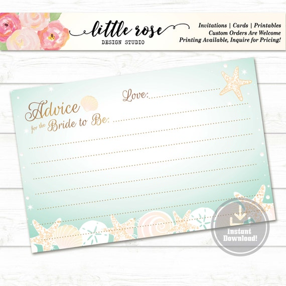 bridal shower advice cards template - advice for the bride to be printable marriage advice card