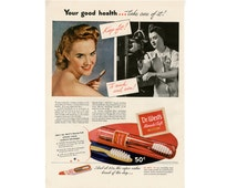1943 Dr Wests Miracle-Tuft Toothbrush Ad, WWII Era Patriotic Womens Personal Care Product Ad, Vintage Original Magazine Print Advertisement