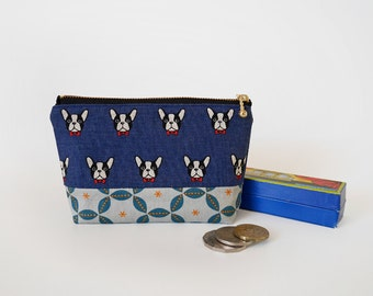 Small makeup pouch, cosmetic pouch, gift for her, medium zipper pouch, bridesmaid gift, french bulldog