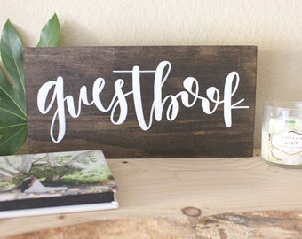 hand lettered calligraphy wood sign // guestbook