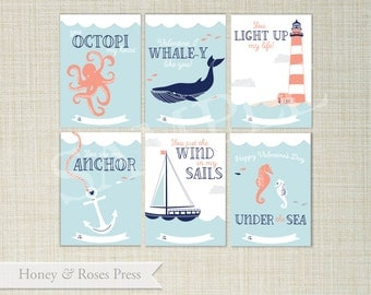 Nautical Valentine's Day Cards . Under the Sea Valentines . Kids Valentines Cards. Printable Valentines . Instant Download