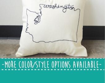 Washington State Embroidered  Decorative Throw Pillow Cover, United States Seattle Tacoma Spokane University UW Gift