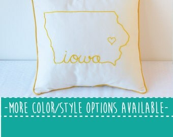 Iowa State Embroidered  Decorative Throw Pillow Cover United States Des Moines Gift