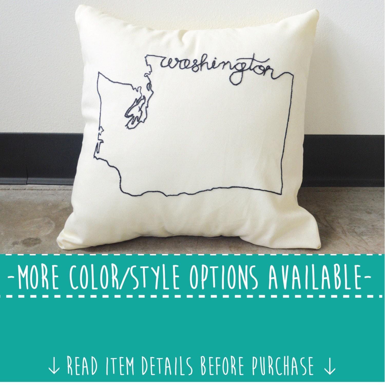 Embroidered State Throw Pillows : Washington State Embroidered Decorative Throw Pillow Cover