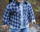 18 Inch Doll Flannel Shirt - Blue/Gray Plaid Button Down & Gray Shirt -Autumn Doll Clothes -American Made Unisex Doll Clothes
