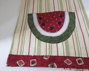Watermelon Tea Towel-Summer Hostess Gift Embroidered Applique