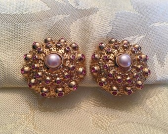 Gold Tone Pink Rhinestones Faux Pearl in Center,Padded Clip On Earrings, Made in Mexico