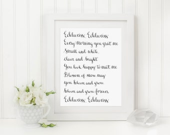 Edelweiss Hand Lettered Art Print, 8 x 10 Calligraphy Print, Hand Lettered Artwork, Digital Download