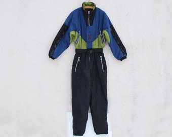 Vintage 80s 90s Ski Suit Black Khaki Blue Ski Suit One Piece Ski Suit Unisex Snowboarding Snowsuit Jumpsuit Medium Size