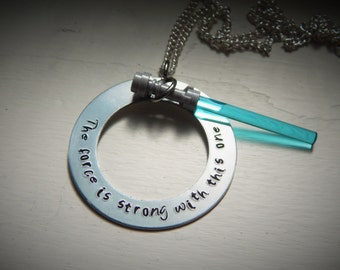 The force is strong with this one, hand stamped necklace