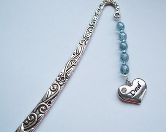 "Pale Blue ""Dad"" Bookmark, Handmade Dad Bookmark; optional gift box; UK Seller"