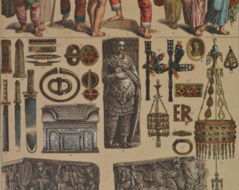 Clothes, weapons, sculptures, ornaments and vessels of the Goths. Middle Ages. Antique print,1894.  121 years old print.  11,5 x 8,4 inches.