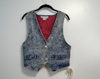 Vintage 1980s Stonewashed Denim Vest Georgio Fiorlini Deadstock With Tags Jean Top Front Pockets Paisley Pattern Lining Large L