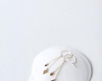 Diamond Dangle Earrings // 14k gold filled earrings