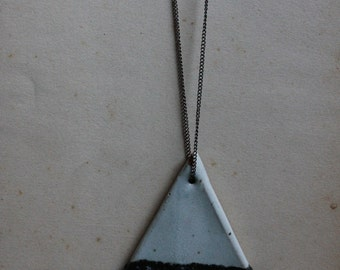 Black and White Ceramic Triangle Necklace