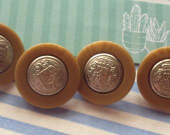 10 Pcs Shield Metal Buttons 2 cm