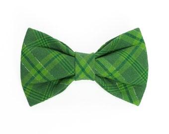 St Patricks Day Plaid Dog Bow Tie, Cat Bow Tie, pet bow tie, collar bow tie, wedding bow tie
