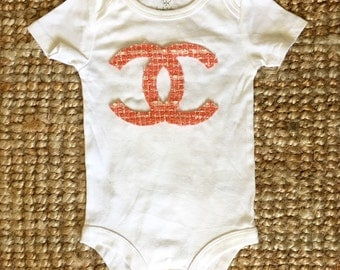 Baby Girl  Chanel Logo Inspired Tweed   Onesie  Bodysuit     - COCO Chanel  Inspired
