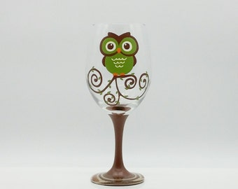 Cute Green and Brown Owl Hand Painted Wine Glass Tree Branch