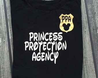 Princess Protection Agency PPA shirt great for Disney World, Disneyland, meals at the Castle or with Mickey Mouse