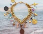 Bracelet - Sea of Galilee Charm Bracelet with Bronze Prutah - 29 AD Coin - 18K Gold Vermeil