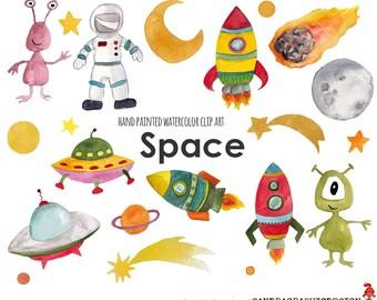 Space clip art, rocket clip art, aliens clip art, boys clip art, hand painted watercolor clipart (5235)