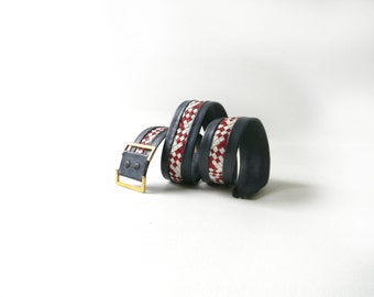 Vintage Woven Red, White & Navy Leather Belt