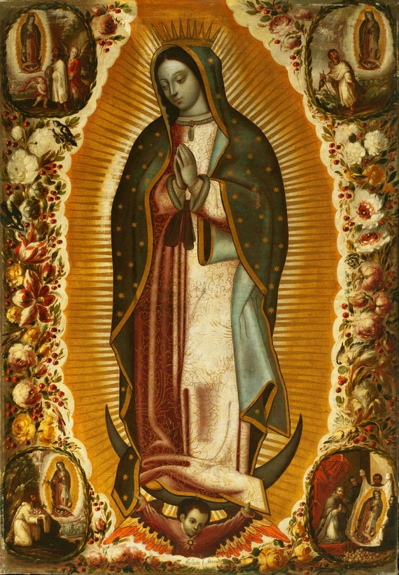 Items similar to our lady of guadalupe canvas print 14x20 for Our lady of guadalupe arts and crafts