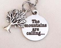 Mountains are calling necklace, mountain girl, trees, mountains, great smokey mountain lovers, campers