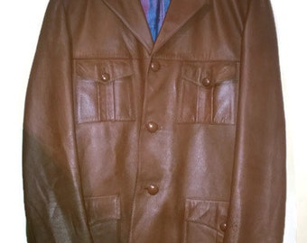 Vintage 70s Coat Leather Coat 1970s VINTAGE Leather JACKET S M super condition new Brown Mens LEather coat