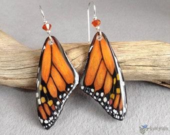 Monarch butterfly wing earrings , hand drawn butterfly wings , sterling , Austrian crystals - Monarch butterfly dangle earrings