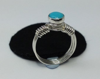 Sterling Silver wire ring with turquoise stone