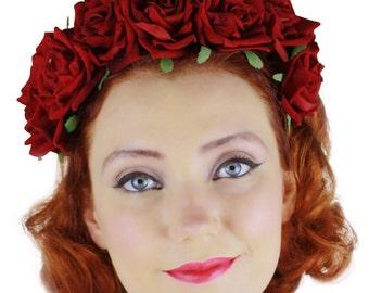 Day of the Dead Dia de los Muertos Red velvet rose hair flower crown headband